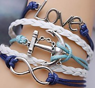 Alloy Love and Anchor Infinite Multilayer Handmade Leather Bracelet