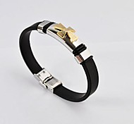 Fashion Men's 316L Stainless Steel Cross Silicone Bracelet