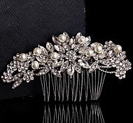 Wedding Bride Flower Austria Rhinestone Handmade Pearl Silver Combs Hair Accessories