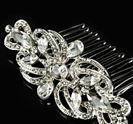 Vintage Wedding Party Bride Flower Austria Crystal Silver Combs Hair Accessories