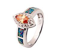 Opal Champagne Of High Quality Fashion Platinum Ring