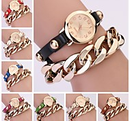 Women Vintage Leather Strap Metal Chain Bracelet Watch (Assorted Colors)