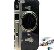 Hemming Camera Pattern TPU  Back Cover Case and Dust Plug for iPhone 6/6S