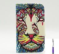 The King of The Forest Pattern PU Leather Case Cover with A Touch Pen ,Stand and Card Holder for iPhone 4/4S