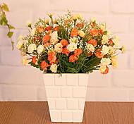 """Flores multicolor 13 """"h estilo country em vaso de madeira"""
