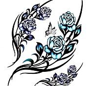 Séries Flores Tatuagem Adesiva - Estampado/Tamanho Grande/Lombar/Waterproof - para Feminino/Masculino/Adulto/Adolescente - de Papel - Multicolorido -