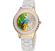 Women's Ceramic Watch Elephant Free Second Hand Vintage Bracelet Quartz Analog Wrist Watches Sparkle Rose Gold/Silver