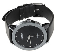 Men's Fashion Simple Design Black Dial Leather Strap Quartz Wrist Watch Cool Watch Unique Watch