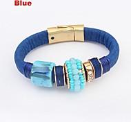 Women's Ethnic Vintage Beads Leather Wrist Chain Bracelets