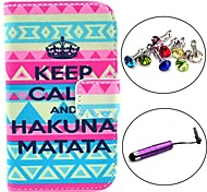 Keep Calm Pattern PU Leather Case with Stylus and Dust Plug for Samsung Galaxy Fame S6810/S6818