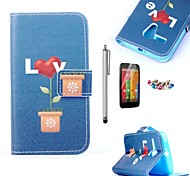 KARZEA™Love Potted Pattern PU Leather Case with Screen Protector and Stylus and Dust Plug for Motorola moto G