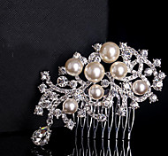 Floral Design Wedding Bride Crystal Pearls Combs Hair Accessior