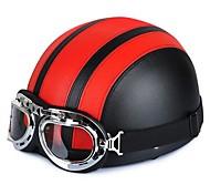 54-60cm gafas de cuero de la motocicleta de la vendimia cascos medio estilo Garman crucero motorista motocicleta scooter de gira casco