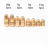 15pcs 3.5/5/7/10g Weight Assorted Bullet Shape Copper Sinker Fishing Tool