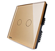 Livolo UK Standard Touch Switch,Luxury Golden Glass Panel,2 Gang2Way,110-250VAC