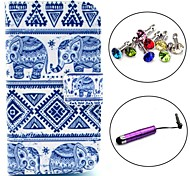 Tribal Elephant Carpet Pattern PU Leather Case with Stylus and Dust Plug for Samsung Galaxy Trend Lite S7390/S7392