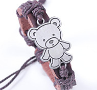 Leather Bracelet 2015 Fashion Tactic Bear Wax Rope Woven Bracelet