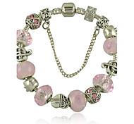 Новый браслет для женщин с розовым стеклянным шариком