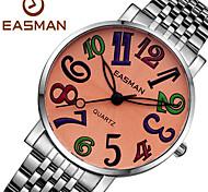 EASMAN Women's Cartoon Sapphire Dial Round Shape Silver Stainless Steel Movement Quartz Wristwatch