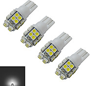 JIAWEN® 4pcs T10 1.2W 20X3528SMD 85LM 6000-6500K Cool White Inverted Side Wedge Light LED Car Lights (DC 12V)