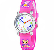 Fashion boy and girl children's cartoon 3D environmental protection silicone quartz watch (bear) ET006