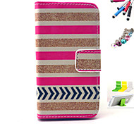 Stripe Pattern PU Material Holster And Stylus Pen Dust Plug Bracket Assembly for iPhone 4/4S