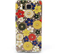 Colorful Flowers Pattern TPU Diamond Relief Back Cover Case for Samsung Galaxy Alpha G850 G8508 G850F