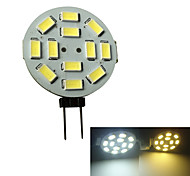 JIAWEN® G4 3W 12x5730SMD 250-270LM 3000-3200K/6000-6500K Warm White/White Light LED Spot Bulb (AC/DC 10-30V)