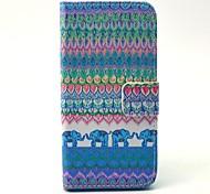 tribale disegno elefante tappeto pu copertura di cuoio con il basamento e la carta slot per iPhone 5 / 5s