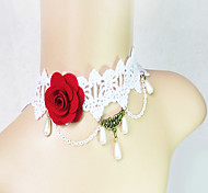 Ladies' Red Rose  Lace Imitation Pearl Necklace
