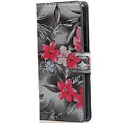 preto com rosa caso couro pu com slots de stands e de cartão para Huawei Ascend p8