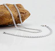 18K White Golden Plated Necklace+Bracelet Jewelry set