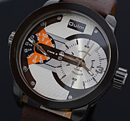 Men's Leather Strap Military Army Style Sport Quartz Watches Dual Time Zone