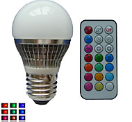 1 pcs SchöneColors® E26/E27 4 W 1X High Power LED Dimmable/Remote-Controlled/Decorative RGB LED Globe Bulbs AC85-265V