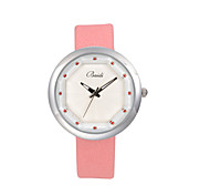 Women's Diamante Round Dial Leather Band Quartz Analog Casual Watch (Assorted Colors)