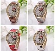 2015  New  Fashion Classic Casual Style Watch Luxury Leather Band  Quartz Watch rhinestone red  Flowers Watch