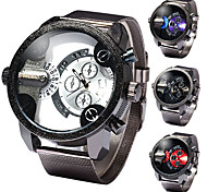 SHIWEIBAO A3030-8 seconds plate + pointer display unique double time quartz watch stainless steel mesh belt men watch