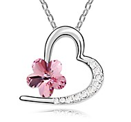 Love Plum Short Necklace Plated with 18K True Platinum Light Rose Crystallized Austrian Crystal Stones