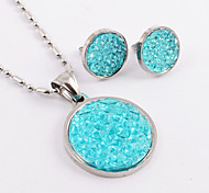 Fashion Round Stainless Steel(Necklace&Earrings) Small Diamond Pieces Inlaid Jewelry Set