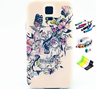 Butterfly Skull Pattern with Stylus ,Anti-Dust Plug and Stand TPU Soft Case for Samsung S5 I9600