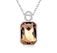 Lover in Tower Short Necklace Plated with 18K True Platinum Light Smoked Topaz Crystallized Austrian Crystal Stones