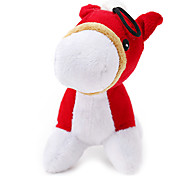 Plush Squeak Little Red Horse Toy for Dogs Cats