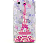 Pink Tower Pattern Relief TPU Soft Back Cover for Sony Z3Mini