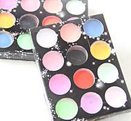 12 cores profissional Glitter Pattern carving colorido pó acrílico kits de nail art (cor aleatória)