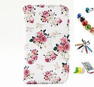 fiore modello PU multifunzionale coperture del telefono cellulare e penna stilo staffa spina della polvere per il iphone 4 / 4s