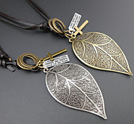 Fashion Color Long Leaf Pendant Necklace