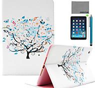 coco FUN® motif chanceux bleu arbre pu cas du stand de cuir flip avec protecteur d'écran et un stylet pour Apple iPad mini-1/2/3