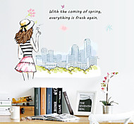 Fashion Girl Blowing Dandelion PVC Wall Stickers Wall Art Decals
