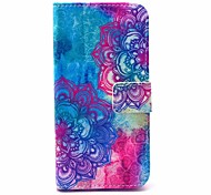Blue Flowers Pattern PU Material With Support Slot With Support Slot Holster for iPhone 6