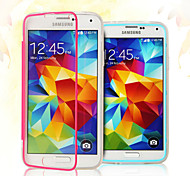For Samsung Galaxy Case Flip / Transparent Case Full Body Case Solid Color TPU Samsung S5